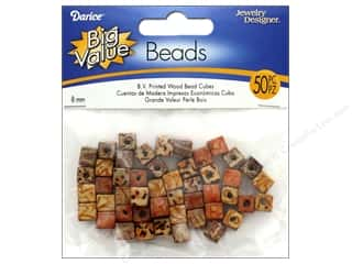 beading & jewelry making supplies: Darice Printed Wood Beads 8 mm Cube 50 pc.