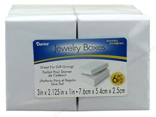 "Darice Jewelry Box with Filling 3""x 2.12"" White 6pc"