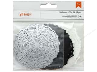 American Crafts Collection Halloween Die Cut Little Spiderwebs Silver Foil