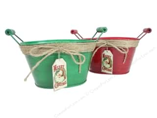 Jute twine: Darice Decor Metal Planter With Handle Merry Christmas Assorted