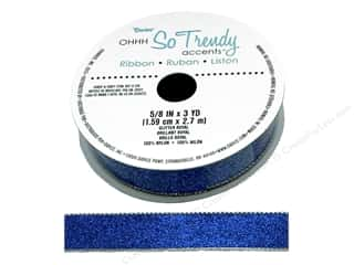 craft & hobbies: Darice Glitter Ribbon 5/8 in. x 3 yd. Royal