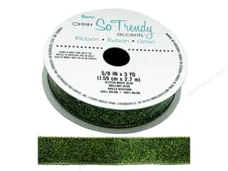 craft & hobbies: Darice Glitter Ribbon 5/8 in. x 3 yd. Olive