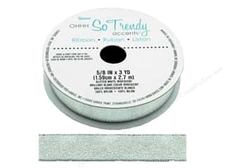 "sewing & quilting: Darice Ribbon 5/8"" Glitter White Iridescent 3yd"