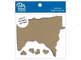 scrapbooking & paper crafts: Paper Accents Chipboard Shape State of Minnesota Silhouette 4 pc. Natural