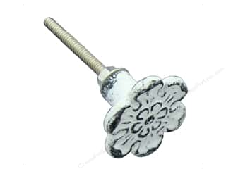craft & hobbies: Darice Hardware Knob Metal Antique White Flower