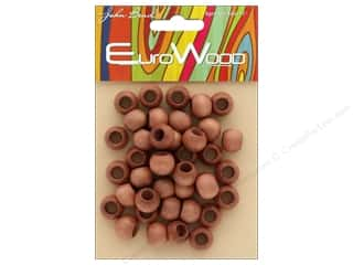 craft & hobbies: John Bead Wood Bead Round Large Hole 12mm x 9.8mm Light Brown