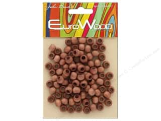 beading & jewelry making supplies: John Bead Wood Bead Round Large Hole 8mm x 6.5mm Light Brown