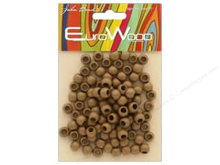 beading & jewelry making supplies: John Bead Wood Bead Round Large Hole 8mm x 6.5mm Coffee