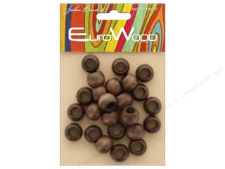 John Bead Wood Bead Round Large Hole 14mm x 11mm Dark Brown