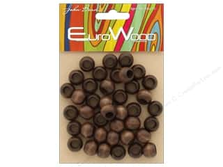 John Bead Wood Bead Round Large Hole 12mm x 9.8mm Dark Brown
