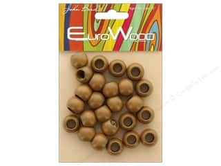 craft & hobbies: John Bead Wood Bead Round Large Hole 14mm x 11mm Coffee