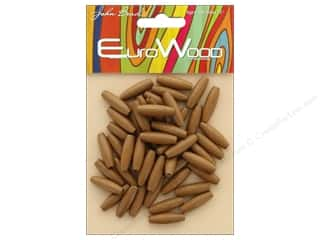 John Bead Wood Bead Spaghetti 6mm x 20mm Coffee