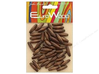 John Bead Wood Bead Spaghetti 6mmx 20mm Dark Brown