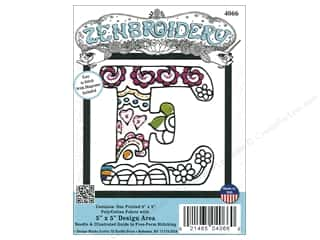 "yarn & needlework: Design Works Zenbroidery Fabric 5""x 5"" Letter E"