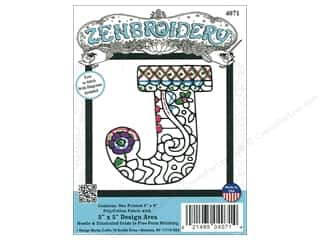 "Design Works Zenbroidery Fabric 5""x 5"" Letter J"