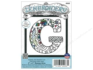 "Design Works Zenbroidery Fabric 5""x 5"" Letter G"