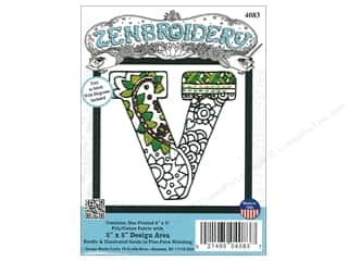 "Design Works Zenbroidery Fabric 5""x 5"" Letter V"