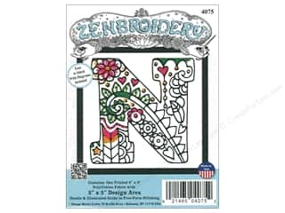 "yarn & needlework: Design Works Zenbroidery Fabric 5""x 5"" Letter N"