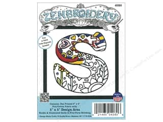 "yarn & needlework: Design Works Zenbroidery Fabric 5""x 5"" Letter S"
