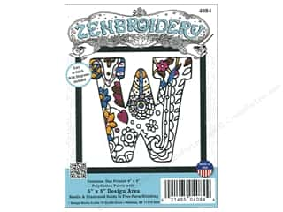 "yarn & needlework: Design Works Zenbroidery Fabric 5""x 5"" Letter W"