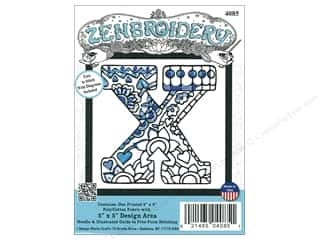 "Design Works Zenbroidery Fabric 5""x 5"" Letter X"