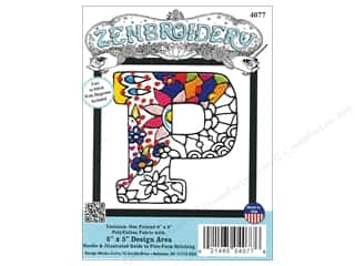 "Design Works Zenbroidery Fabric 5""x 5"" Letter P"