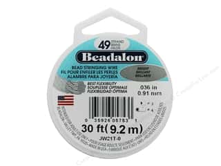"beading & jewelry making supplies: Beadalon Bead Wire 49 Strand .036"" Bright 30'"