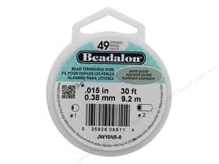 "beading & jewelry making supplies: Beadalon Bead Wire 49 Strand .015"" Satin Silver 30'"