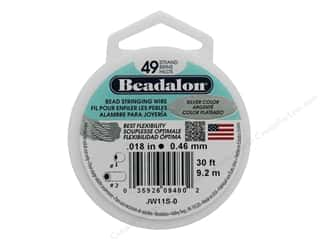 "beading & jewelry making supplies: Beadalon Bead Wire 49 Strand .018"" Silver Color 30'"