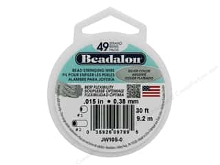 "seed beads: Beadalon Bead Wire 49 Strand .015"" Silver Color 30'"