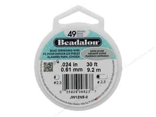 "beading & jewelry making supplies: Beadalon Bead Wire 49 Strand .024"" Satin Silver 30'"