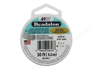 "Clearance: Beadalon Bead Wire 49 Strand .024"" Satin Gold 30'"