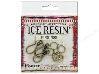 beading & jewelry making supplies: Ranger ICE Resin Findings S-Hook/Jump Ring Bronze