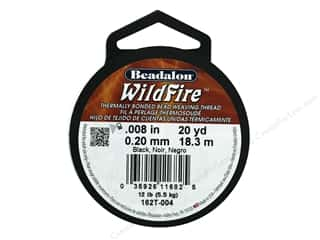 Twine: Beadalon Wildfire Bead Thread .20mm 20yd Black