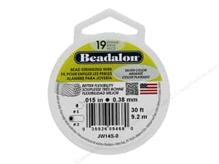 "beading & jewelry making supplies: Beadalon Bead Wire 19 Strand .015"" Silver Color 30'"