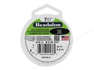 "beading & jewelry making supplies: Beadalon Bead Wire 7 Strand .018"" Black 30'"