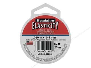 beading & jewelry making supplies: Beadalon Elasticity .5mm Satin Silver 25M