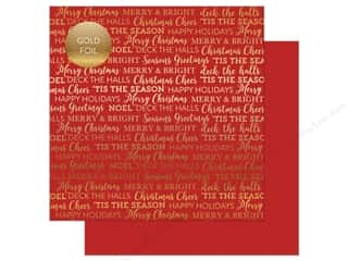 "sentiment: Carta Bella Collection Holiday Sentiments Paper 12""x 12"" Foil Red (25 pieces)"