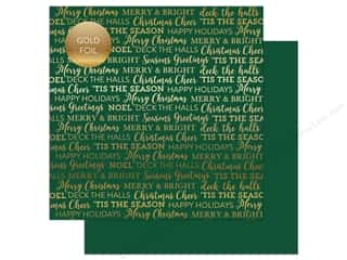 "sentiment: Carta Bella Collection Holiday Sentiments Paper 12""x 12"" Foil Green (25 pieces)"
