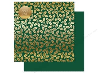 Carta Bella Collection Holly & Berries Paper 12 in. x 12 in. Foil Green (25 pieces)