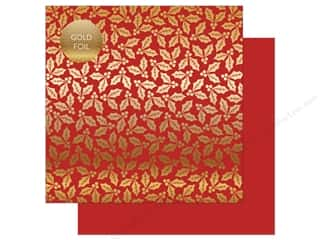 Carta Bella Collection Holly & Berries Paper 12 in. x 12 in. Foil Red (25 pieces)