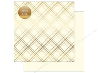 "scrapbooking & paper crafts: Carta Bella Collection Seasonal Plaid Paper 12""x 12"" Foil Cream (25 pieces)"