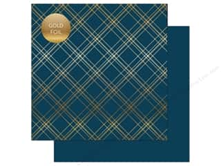 "scrapbooking & paper crafts: Carta Bella Collection Seasonal Plaid Paper 12""x 12"" Foil Navy (25 pieces)"