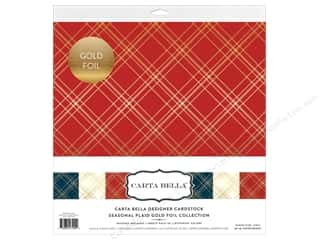 "Carta Bella Collection Seasonal Plaid Collection Kit 12""x 12"" Gold Foil"
