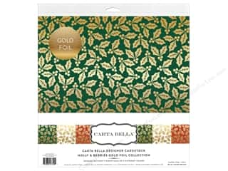 Carta Bella Collection Holly & Berries Collection Kit 12 in. x 12 in. Gold Foil