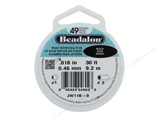 "twine: Beadalon Bead Wire 49 Strand .018"" Black 30'"