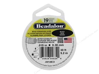 "seed beads: Beadalon Bead Wire 19 Strand .015"" Black 30'"
