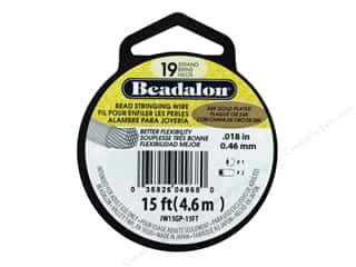 beading & jewelry making supplies: Beadalon Bead Wire 19 Strand .018 in. Gold Plated 15 ft.
