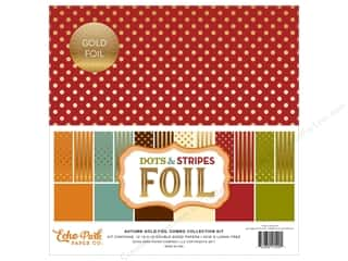 Echo Park Collection Dots & Stripes Autumn Gold Combo Collection Kit 12 in. x 12 in.