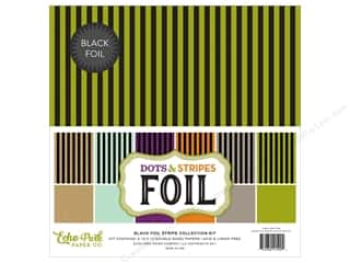 Echo Park Collection Dots & Stripes Black Foil Stripe Collection Kit 12 in. x 12 in.